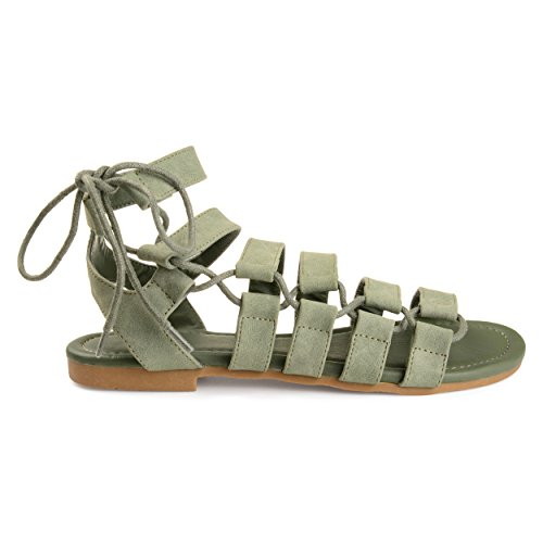 Brinley Co Womens Clove Caged Faux Leather Strappy Gladiator Sandals Green 7zSkAmBHPJ