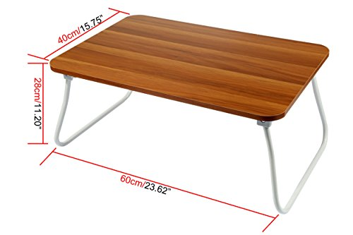 Homebi Lap Desk Tray Table Laptop Stand Portable Bed Desk Breakfast Tray for Bed Couch and Sofa with MDF Top Board and Foldable Metal Legs (11.20''H, Walnut) by HOME BI (Image #5)