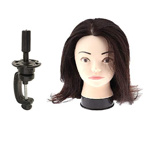 F Fityle ヘアマネキンヘッド クランプ マネキン 人間の髪 美容師 トレーニング 人形頭