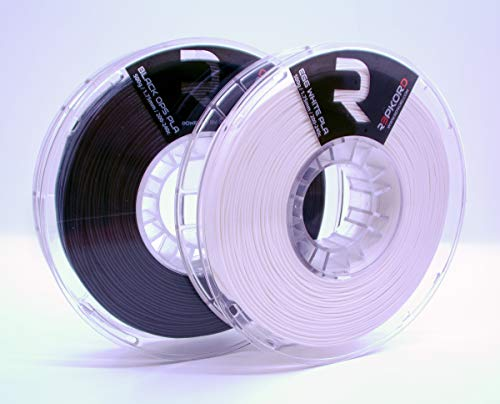 REPKORD 3D Printing Filament Bundle Made in The USA (2 Pack 1.75mm PLA ZebraPak: Black Ops Egg White 2)