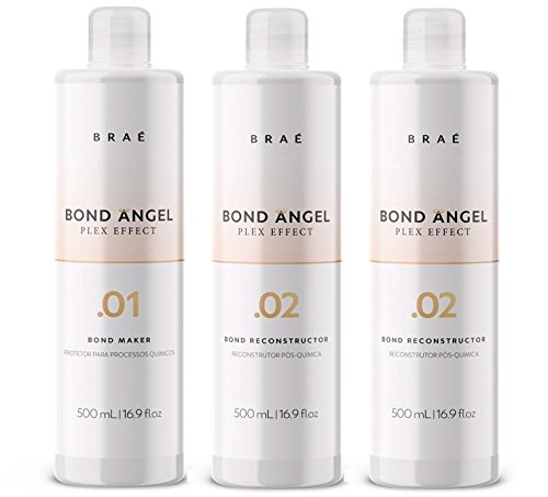 Bond Angel Plex Effect, Bond Multiplier Treatment Professional Kit for Bleaching and Coloring protection for All Hair Types -500ml Step1,2,2 by BRAE