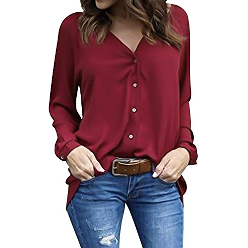 Luxspire Shirt Tops 3 V Col Blouse Bordeaux XL Mode Manches Noir 4 Button Fminine vq8rBv