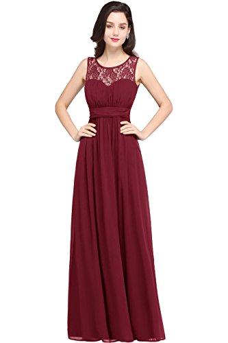 Babyonlinedress Chiffon Patchwork with Retro Lace Long Formal Dress,Burgunday,14