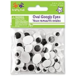 Krafty Kids Paste-On Googly Eyes, 10 to 19mm, Black, 80 Per Package