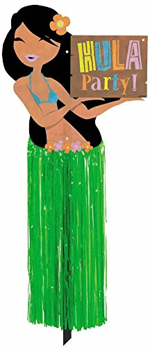 amscan Hula Girl with Tissue Skirt Party Yard Sign, 23.5