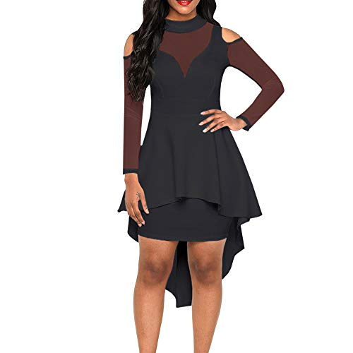 SEBOWEL Women's Sexy Sheer Mesh Evening Gowns Plus Size Peplum High-Low Bodycon Party Dress All-Black L