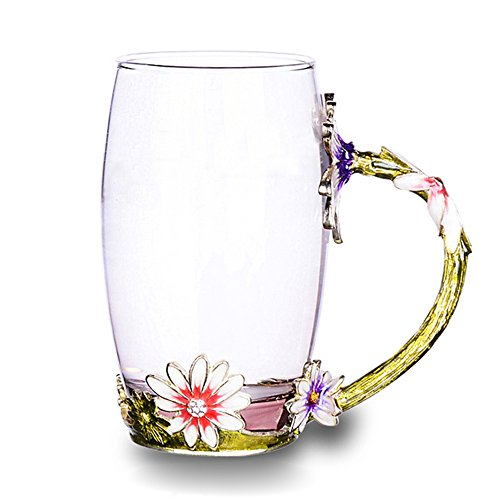 TIANG Glass Tea Cup 12oz Lead Free Handmade Flower Mug With Handle Unique