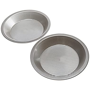 USA Pan Bakeware Aluminized Steel Set of 2, 12 x 1.5- Inch Pie Pans,  Made in the USA