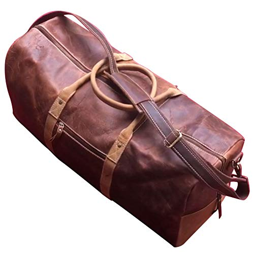 Duffel Bag Genuine Full Grain Leather Travel 24 bag, Classy, Large Overnight Traveler Carry-on Luggage Duffle, Ideal for Gym, Sports, Vacation, Holiday, Weekend, Christmas Gift for Men, Women