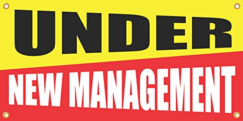 - Under New Management Vinyl Display Banner with Grommets, 2'Hx4'W, Ready To Use