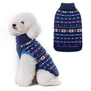 BINGPET Classic Snowflake Dog Sweater – Soft Thickening Dog Cat Warm Coat Apparel, Winter Knitwear Pet Clothes for Cold…