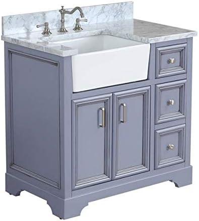 Zelda 36-inch Bathroom Vanity Carrara/Powder Gray : Includes Powder Gray Cabinet