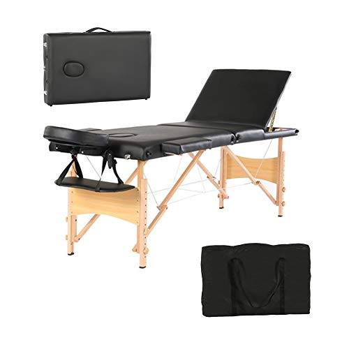 Simply-Me Massage Table Massage Bed 84 Inch 3 Folding Portable Beech Leg Beauty Massage Table Height Adjustable Spa Bed Facial Salon Tattoo Bed w/Carry Bag,Black