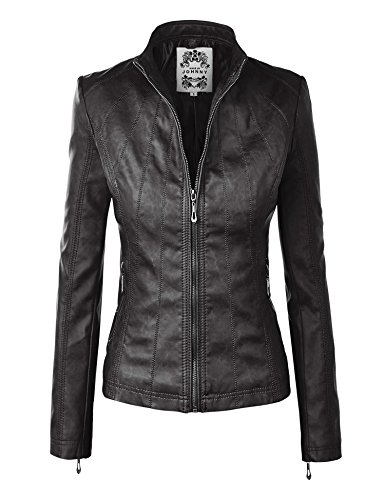 MBJ WJC877 Womens Panelled Faux Leather Moto Jacket XXL BLACK