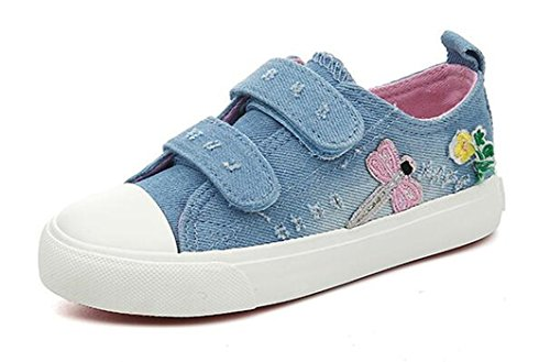 Bumud Kids Girl's Strap Canvas Shoe Fashion Sneaker(Toddler/Little Kid) (13 M US Little Kid, Light (Little Girl Walking)