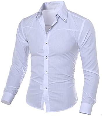 Camisas Hombre,Hombre Moda Impreso Camisas de Manga Larga Slim Tops Blusa Camiseta Slim fit Business Casual Camisas de Vestir Formales: Amazon.es: Deportes y aire libre