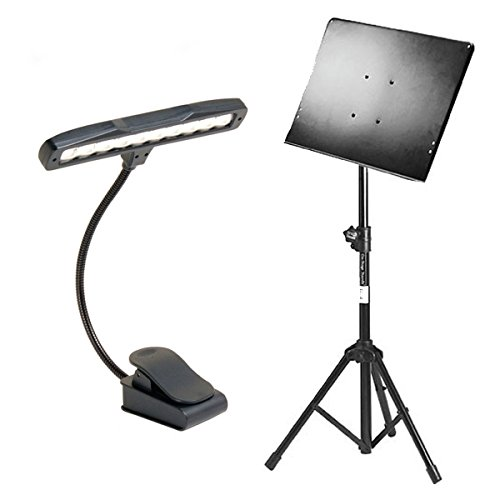 tand With Tripod Folding Base + Clip-On Orchestra Light With Solo Head and 10 LED White Lights ()