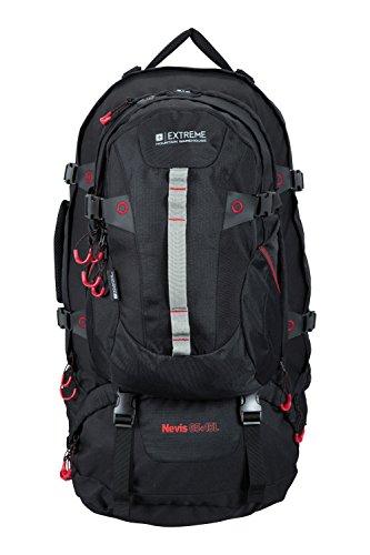 evis Extreme 65L + 15L Litre Waterproof Rucksack Bag Black (65l Rucksack)