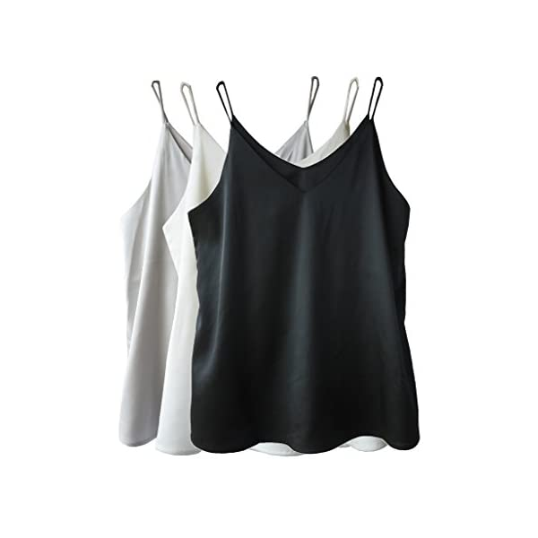 4fe89d8c5d Wantschun Womens Silk Satin Camisole Cami Plain Strappy Vest Top T ...