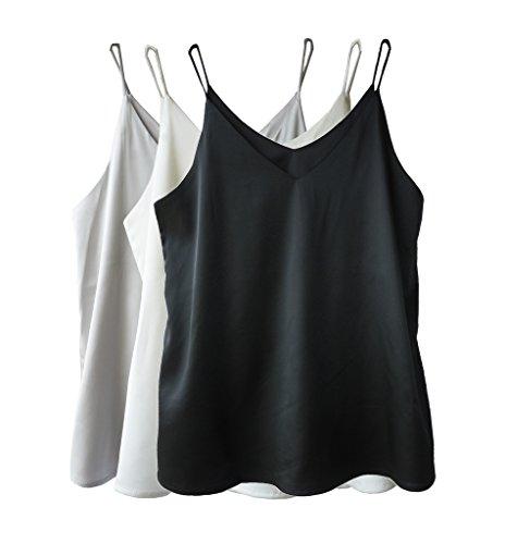 Wantschun Womens Silk Satin Camisole Cami Plain Strappy Vest Top T-Shirt Blouse Tank Shirt V-Neck Spaghetti Strap US Size ()