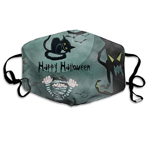 Happy Halloween Cat Bandage Man Outdoor Protective Cotton Face Mouth Mask Suitable for Ski Cycling Camping -