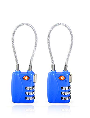 Tsa Approved Travel Lock By Universal Pier| 2 Pack Travel Locks With 3 Dial Combination For A Lock-Safe Trip (Blue and Blue)