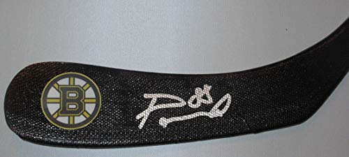 David Pasternak Autographed Boston Bruins Logo Stick Blade W/PROOF, Picture of David Signing For Us, Boston Bruins, Team Czech Republic, 2019 All Star