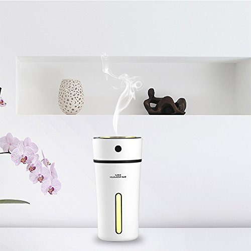 USB Car Humidifier - Kricson Aromatherapy Portable Essential Oil Diffuser Waterless Auto Shut-off 300ml Cool Mist Ultrasonic Cup Humidifier with LED Night Light for Baby Room Living Room Office Yoga