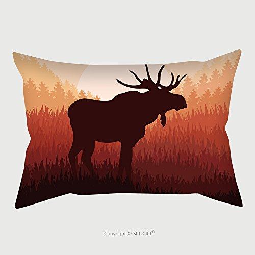 Custom Microfiber Pillowcase Protector Moose In Wild Nature Landscape Background Illustration Vector 91243796 Pillow Case Covers Decorative - 16w Moose