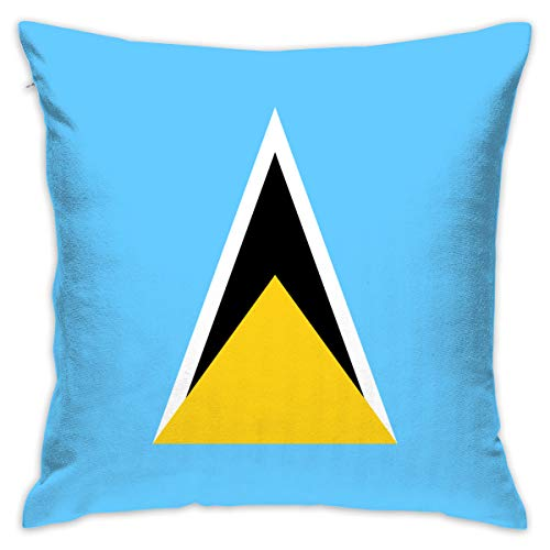 LNC 01P Saint Lucia Flag Throw Pillow Cases Flax Cushion Cover Car Sofa Home Decorative 18x18 Pillowcase (Set of 2) for Home Sofa Decorative Office Chairs, Cars, Bars (Lucia Accent Chair)