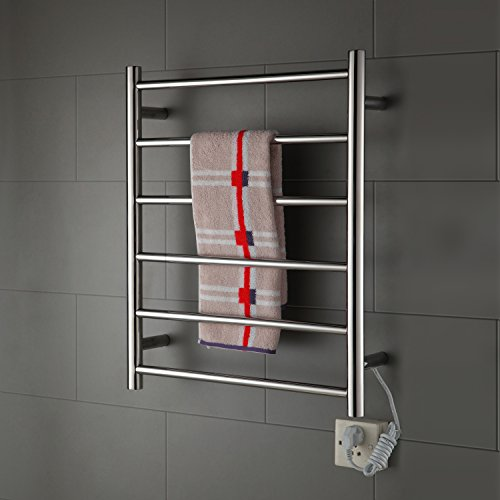 Radiant Plug-In 70W Towel Warmer Stainless Steel Mirror Polished Drying Wall Mount 680mm Tall Towel Rack Lavatory Chrome Finish by LightInTheBox