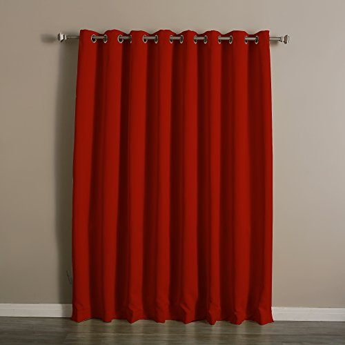 """Premium Cardinal Red Wide Width Silver Stainless Steel Grommet Top Thermal Blackout Curtain 100""""W X 96""""L Panel"""