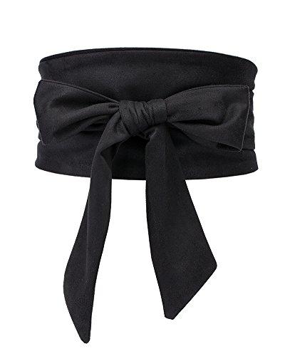 (Aecibzo Women's Bowknot Self Tie Wrap Around Obi Waist Band Cinch Boho Waist Belt (Black))