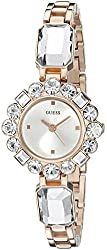 GUESS Women's U0701L3 Dressy Jewelry Inspired Rose Gold-Tone Watch with Self-Adjustable Bracelet