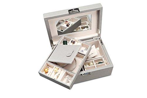 Vlando Wooden Jewelry Box, Jewelry Organizer and Storage- Grey by Vlando (Image #3)