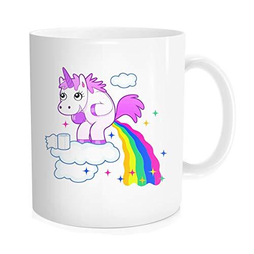 879f30000d6 Funny Coffee Mug Tea Cup Inspirational Quote for Men Women - Cartoon Cute  Unicorn Pooping A