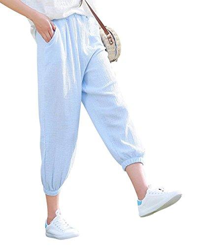 Harem Unique Elastica Casuali Estivi Monocromo Donna Donne Vita Eleganti Gris Pluderhose Accogliente Sciolto Libero Fashion Pantaloni Lanterna Tempo Bleu Di Classiche Opfvwf5q