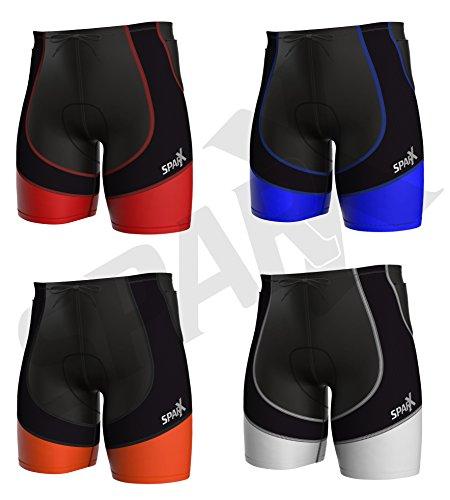 Sparx X Energy Compression Triathlon Short Tri Cycling Bike Swim Run (Black/Orange, - Swimming And Biking