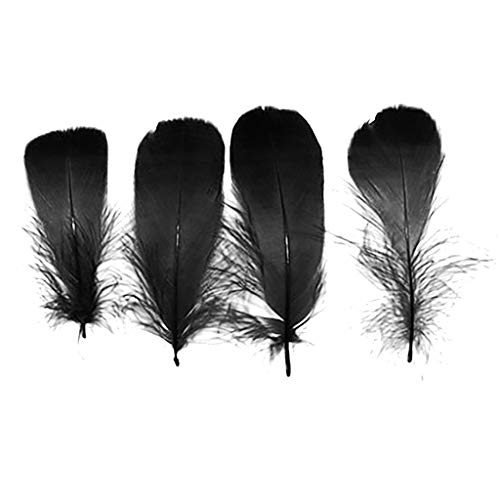 100 Pcs Solid Feathers,Funny DIY Tool Accessories for Party Hat Costume Hair Home Decor (Black)