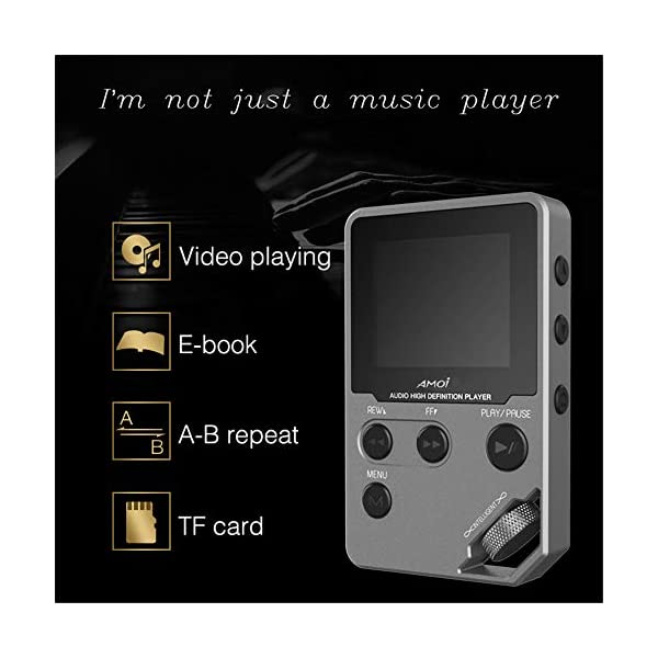 MP3 Music Player, Lossless HiFi Portable Sports Music Player HD Screen Support Video Playing E-Book Voice Recorder TF Card,Gray,128GB 5