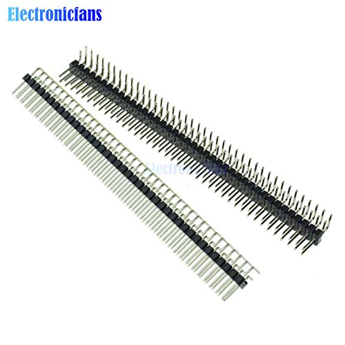 Batcus 5PCS 2.54mm 2 x 40 Pin Male Double Row Right Angle Pin Header Strip