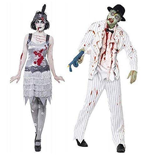 Zombie Outfits For Ladies (Couples Fancy Dress Zombie Ghost White Pinstripe Gangster Flapper Ghost Mobster 1920's 20's Halloween Costumes Party Outfits (Ladies UK 16-18 & Mens)