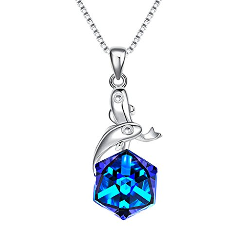 EleQueen 925 Sterling Silver Square Pisces Zodiac Constellation Sign Pendant Necklace Blue Made with Swarovski ()