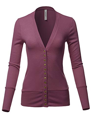 Causal Button Long Sleeves Everyday Cardigan Eggplant S