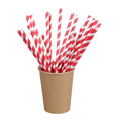 PacknWood Individually Wrapped Bee's Wax Coated Paper Party Straws,  8.3'' Length, Red and White Striped (Case of 6000) by PacknWood