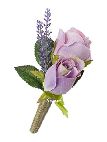 Sweet Home Deco Silk Rose Bud Wedding Boutonniere Groom and Groomsmen (Lavender) (Sweet Deco Rose Home)