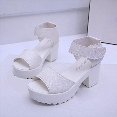 Gladiator Chunky Sandalias wear to Plataforma it De Abiertas Toe SKY Blanco Toe Alto Peep Talón Shoes Mujeres Comfortable OHqx66gZ