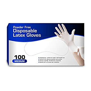 New Disposable Latex Gloves, Powder Free (100 Gloves Per Box) (Medium)