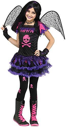Pink Skull Fairy Child Costumes (Pink Skull Fairy Girls Halloween Costume (12-14))