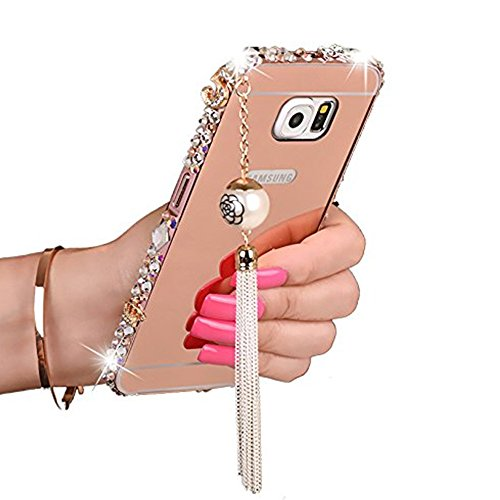 Gravydeals S6 Edge Plus Case,Rose Gold amazing Luxury Rhinestone Diamond Aluminum Metal Frame Electroplate Mirror Effect PC Cover with Pearl Tassels for Samsung Galaxy S6 Edge Plus